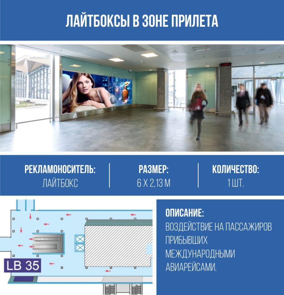 реклама на лайтбоксах в Пулково