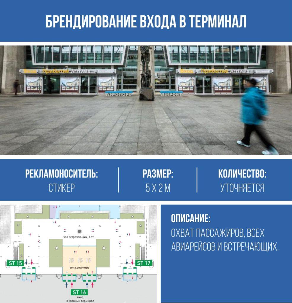 брендирование входов в терминал в Пулково