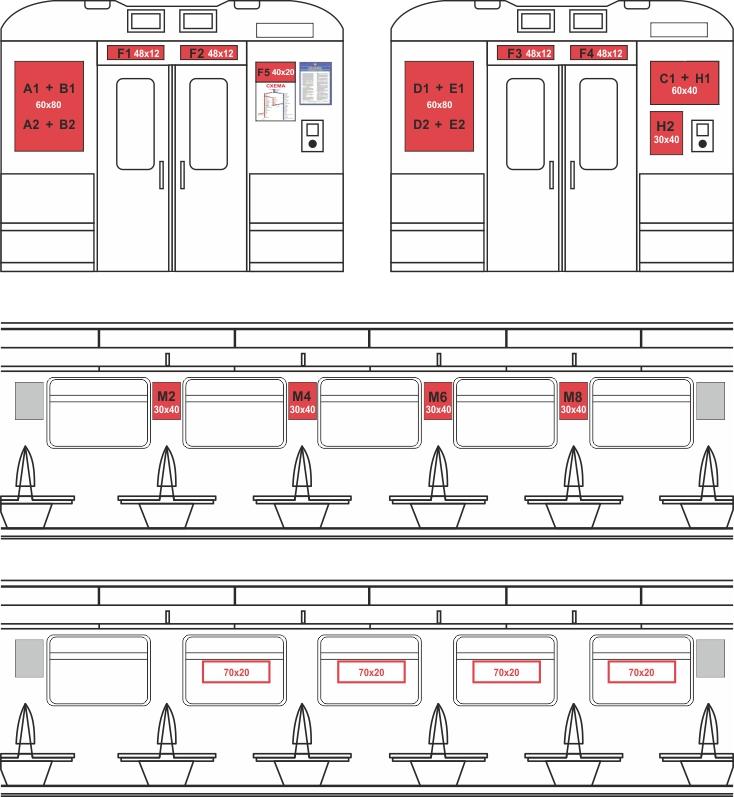 схема размещения рекламы в электричках